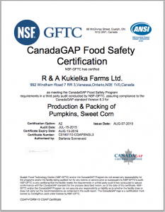 corn gmo free CanadaGAP food safety certification